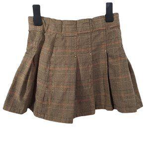 GENEVIEVE LAPIERRE Brown & Orange Pleated Skirt 6X